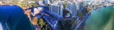Orlando, Florida. Beautiful sunset aerial view of lake and build