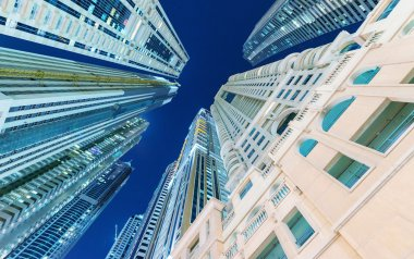 Tall skyscrapers of Dubai Marina - UAE