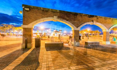 Arches in Mallory Square at night, Key West