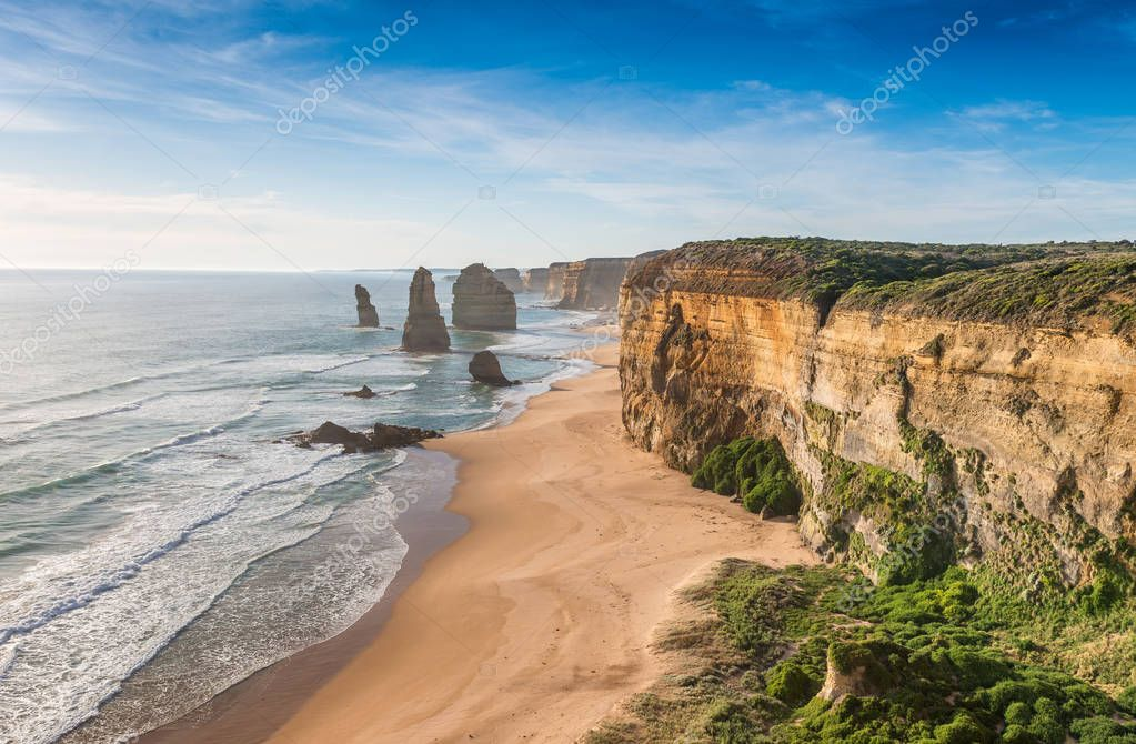 The Twelve Apostles Rocks on the ocean, Great Ocean Road at suns