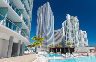 Magnificent view of Downtown Miami skyscrapers. Luxury and holid