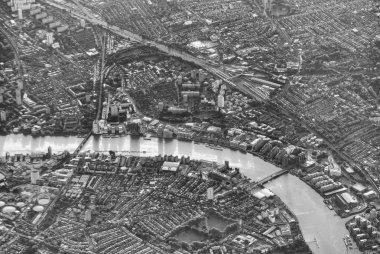 London skyline from airplane