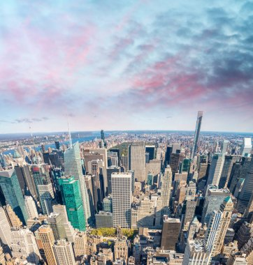 New York aerial skyline at dusk
