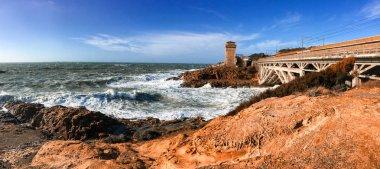 Sea storm in Calafuria, Leghorn. Panoramic view of Tuscany coast