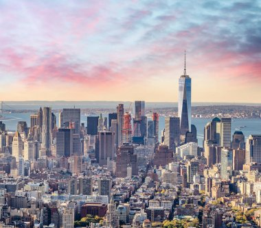 Aerial view of Lower Manhattan at sunset