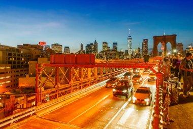 Brooklyn Bridge traffic at night, NYC