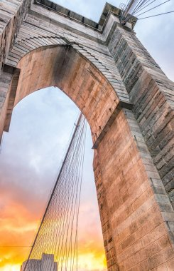 Brooklyn Bridge tower at sunset
