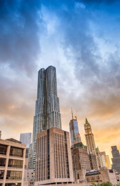 Downtown Manhattan magic hour skyline