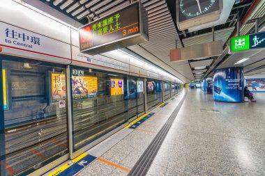 HONG KONG - APRIL 2014: MTR underground station in Hong Kong. Ma
