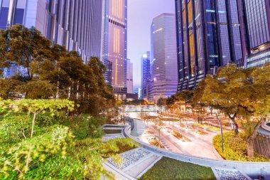 Streets of Hong Kong at night, China