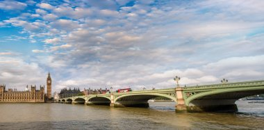 Westminster Bridge at sunset, London panoramic view