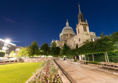 St Paul Cathedral and gardens - London by night