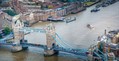 Tower Bridge aerial panoramic view, London - UK