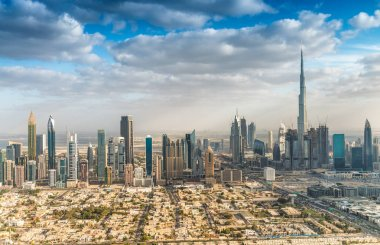 Downtown Dubai skyline aerial view, UAE