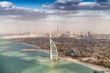 Aerial view of Dubai coastline