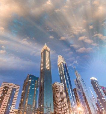 Downtown Dubai skyscrapers at night