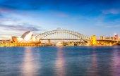 Světla ze Sydney siluetu v noci