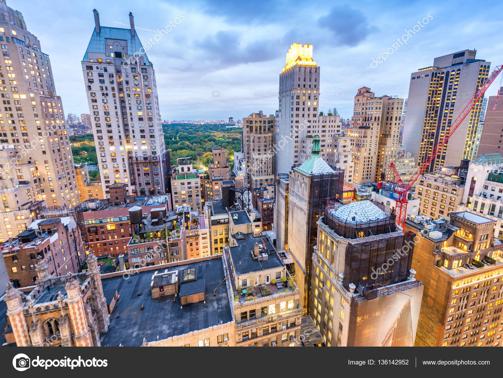 ciudad de nueva york edificios de manhattan y central park a ver puesta de sol areo u foto de jovannig