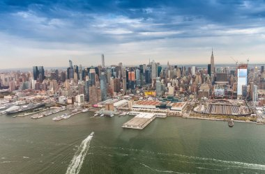 Midtown Manhattan skyline from helicopter - New York City