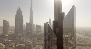 Aerial  view of Dubai Downtown skyscrapers