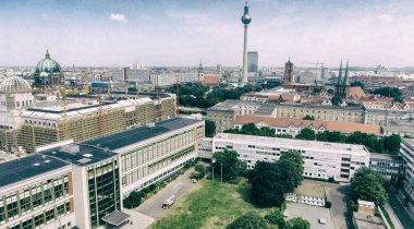 Berlin, Germany. Aerial view of Cathedral and TV Tower