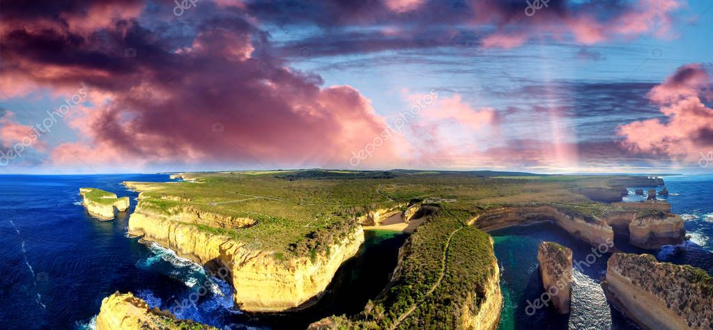 Sunset panoramic aerial view of Loch Ard Gorge and Island Arch,