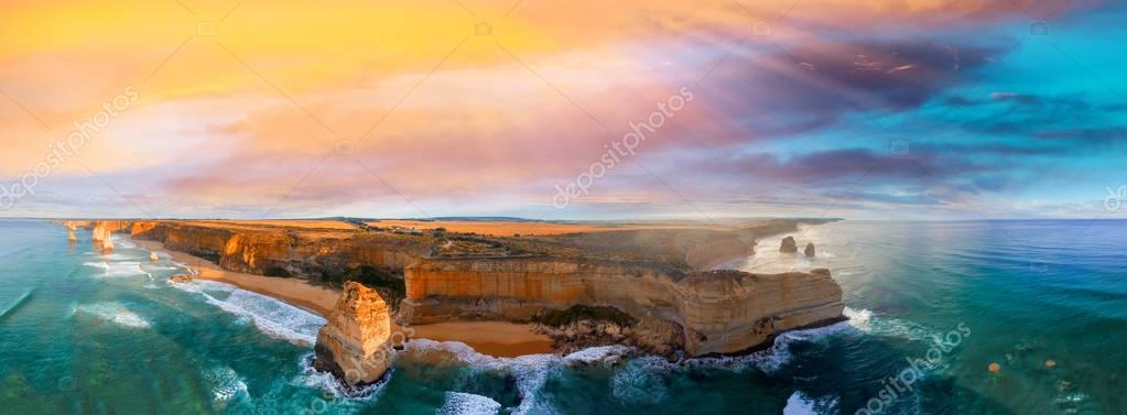 Panoramic aerial view of Twelve Apostles coastline at sunset, Gr