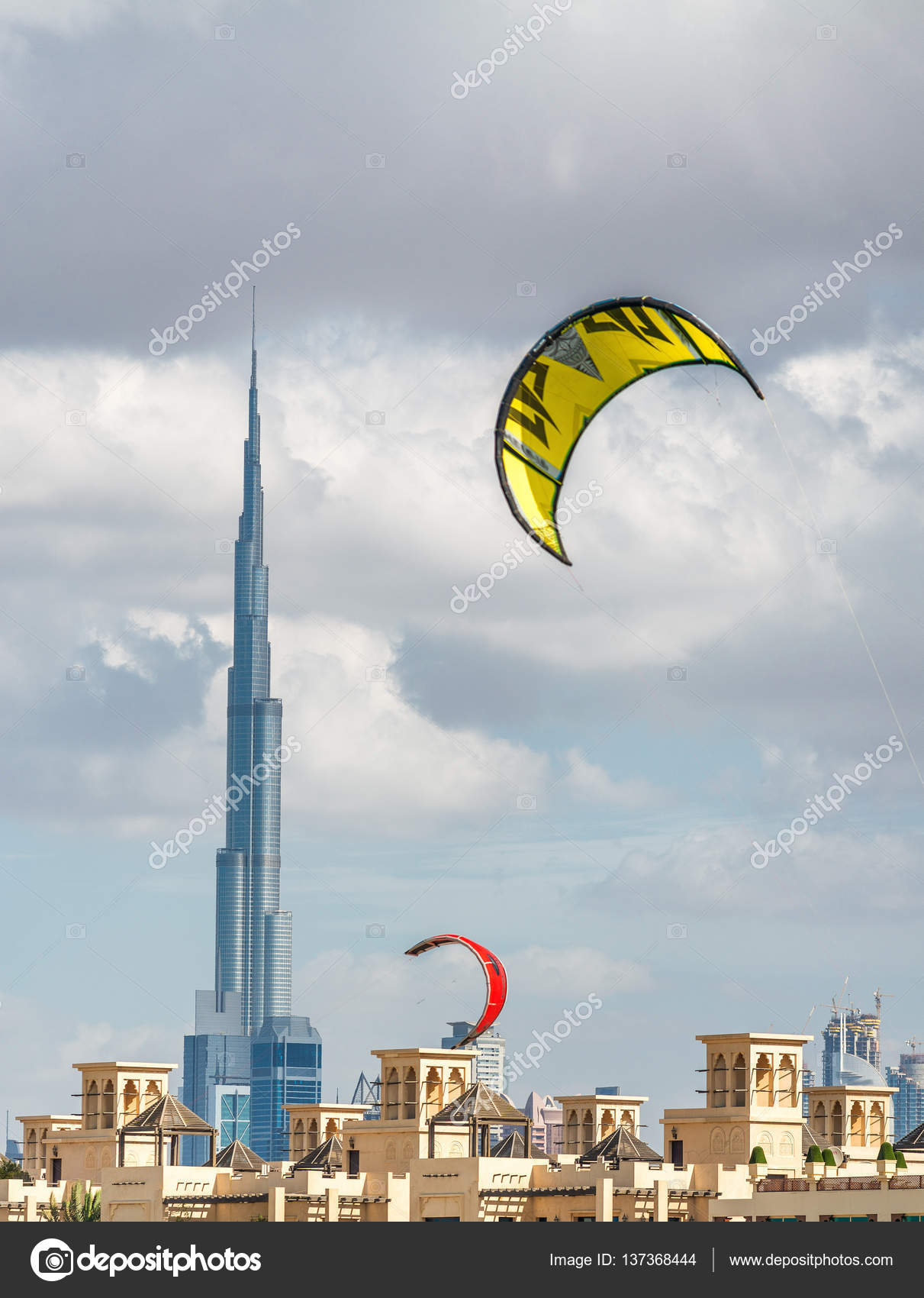 Kites Flying Over Kite Beach Dubai Stock Editorial Photo