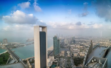 Panoramic sunset skyline of Abu Dhabi