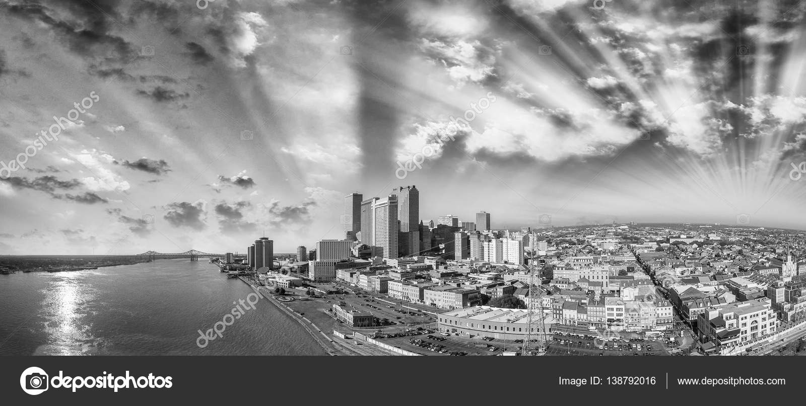 Black and white panoramic view of new orleans louisiana stock