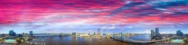 Panoramic sunset aerial view of Jacksonville, Florida