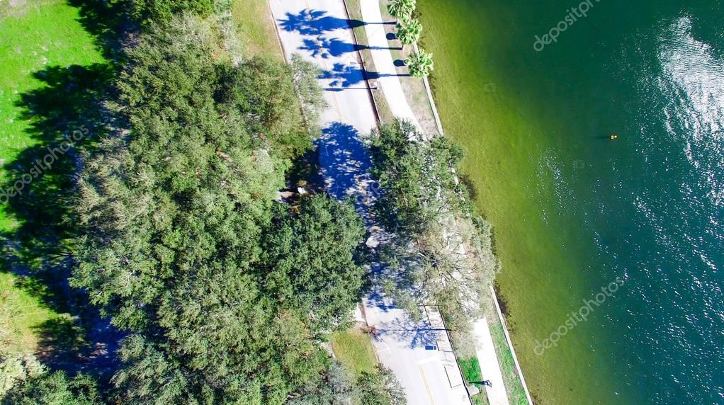 City park overhead view