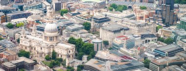 St Paul Cathedral from helicopter, London - UK