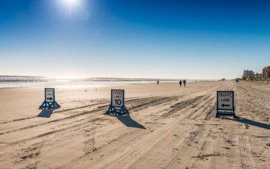 Street signs on Daytona Beach along the ocean