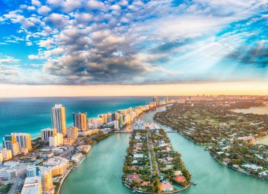 Aerial view of Miami Beach at sunset