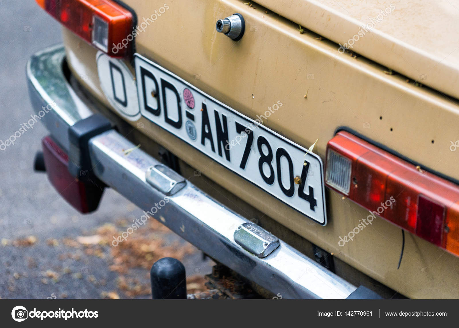 DRESDEN, GERMANY - JULY 2016: German plate on a old car. DD is t ...
