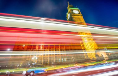 Car light trails under Westminster Palace, London