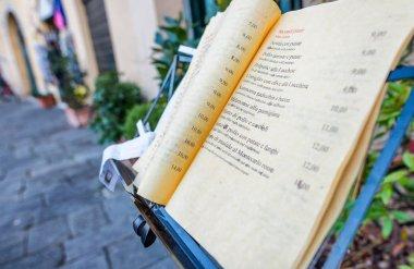Italian restaurant menu outdoor