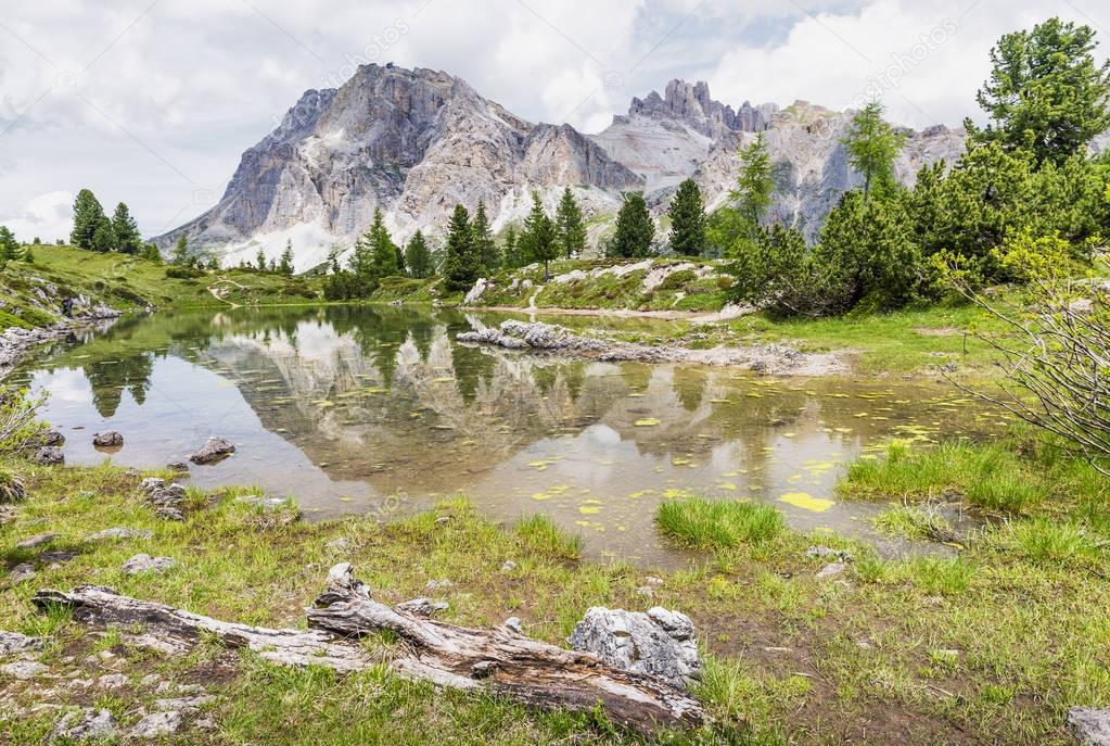 Beautiful lake among Dolomites Mountains, Italy