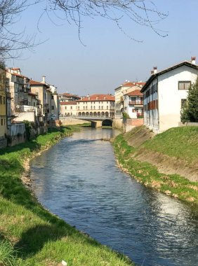 Homes and canal of Vicenza, Italy