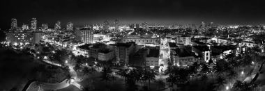 Miami Beach at night, aerial view of Ocean Drive lights