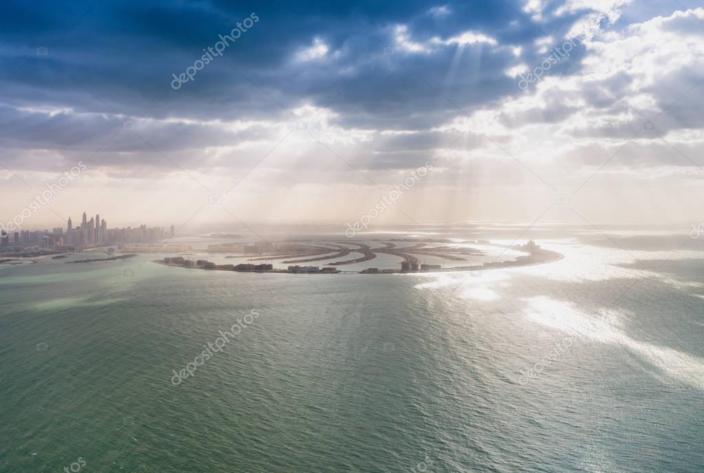 Aerial view of Dubai Palm Jumeirah Island, UAE