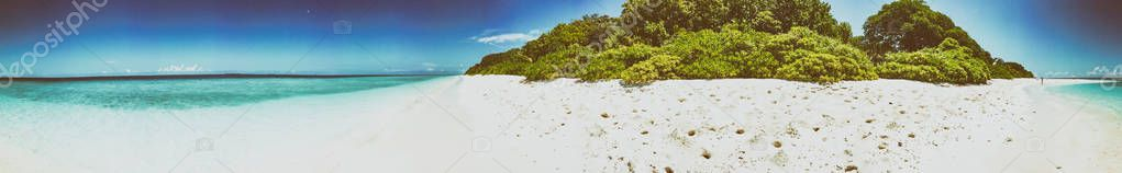 Panoramic view of Maldivian Sea and Island