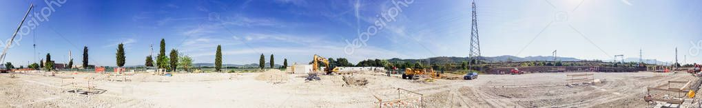 Panoramic view of building site under construction