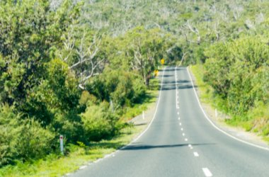 Australian countryside road blurred view
