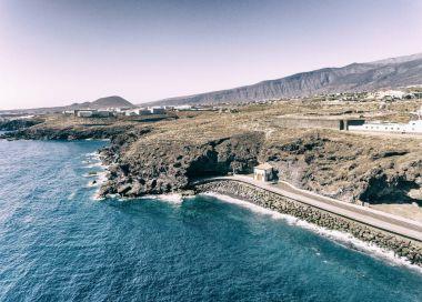 Coastal aerial view of Bajamar Pools in Tenerife, Spain