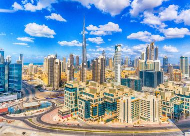 Aerial view of Dubai Downtown on a beautiful day