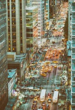 Aerial view of city traffic at night, New York - Manhattan
