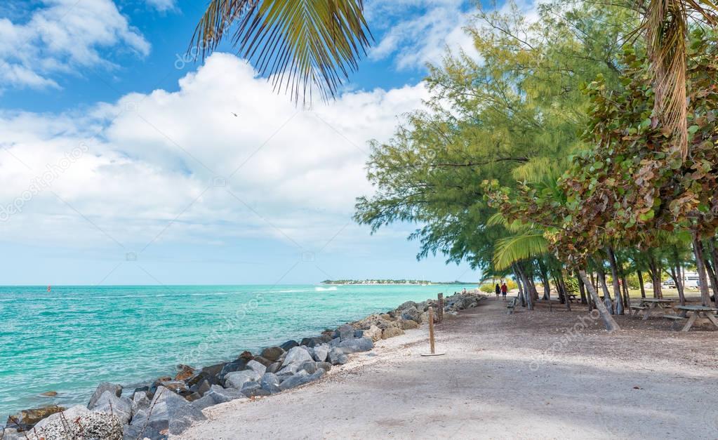 Coastline of Fort Zachary State Park in Key West, FL