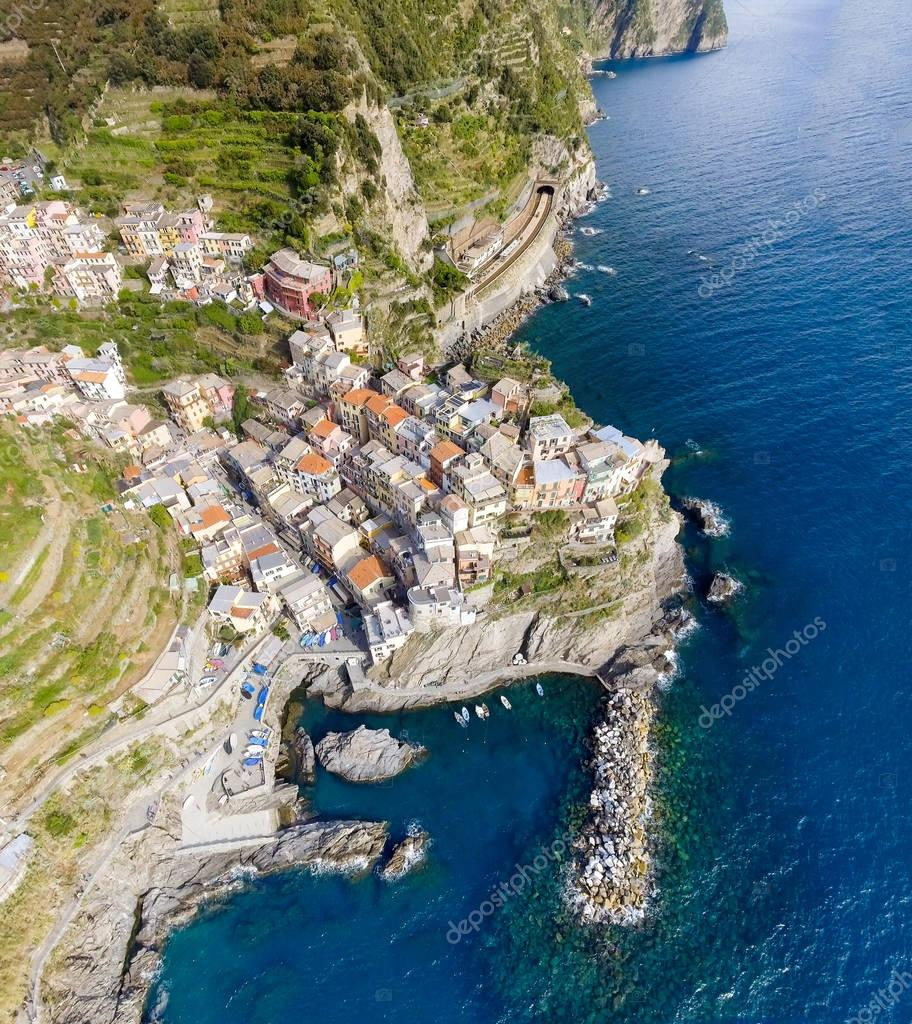 Overhead panoramic aerial view of Manarola. Five Lands, Italy
